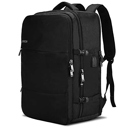 OSOCE Large Travel Backpack with USB Charging and Headphone port.Airline Approved Anti theft Luggage Carrying Rucksack,Two Waterproof Compartments, Fits 17-inch laptop