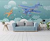 3D Murales Papel Pintado Pared Calcomanías Decoraciones Cielo Azul Y Nubes Blancas Avión Cuarto De Los Niños Dormitorio Infantil Art Déco En El Fondo De La Sala De Estar(W)200x(H)140cm
