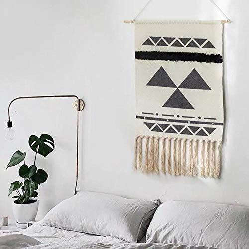 Nordic Hand-woven Homestay Tassel Tapestry Hanging Canvas Wall Hanging Handmade Bohemian Retro Art Hanging Cloth Home Decor