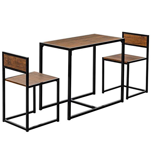 3-Piece Table and Chair Set - Compact Dining Bar Table Set Small Space for Kitchen Living Room Dinette Coffee Dining Breakfast Table Industrial Design