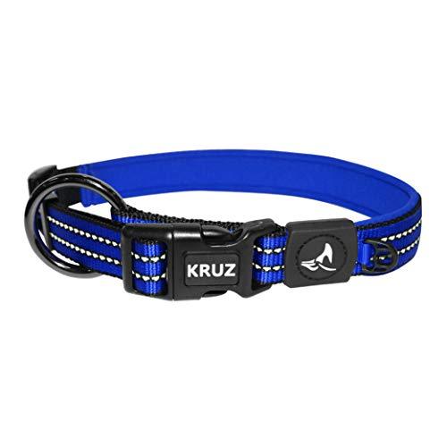 Kruz PET KZV006-15L Reflective Dog Collar for Small, Medium, Large Dogs, 100% Nylon Adjustable Pet Neck Collar, Heavy Duty O-Ring, Soft, Comfortable Neoprene Padding - Blue - Large