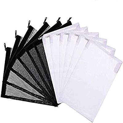 Aquarium Filter Bags,24 Pieces Media Mesh Filter Bags with Zipper Net Bags or Activated Carbon, Biospheres, Ceramic Rings, Clean and Recyclable 15x20cm (12pcs Black + 12pcs White)