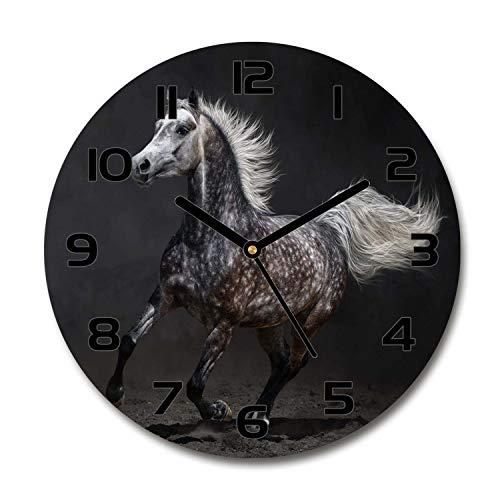 Tulup Redondo Reloj De Pared De Vidrio 60cm Silenciosa Grande Original Moderno Decorativo Manecillas Negras - Caballo Árabe Gris