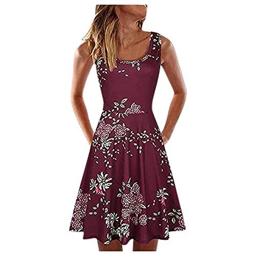 HonpraD Women Summer Spaghetti Strap Tank Skater Dress Floral Swing Party Dress...