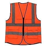 Chaleco Reflectante,Uniforme trabajo Chaleco con cremallera Chaleco de segurida (Naranja)