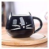 Taza Termo para niños Taza de café de cerámica con platillo Shoon Set Creative Lindo Dibujos Animados Cat Tea Tea Desayuno Leche Taza Café Café Pan Postre Plato Regalo (Color : H)