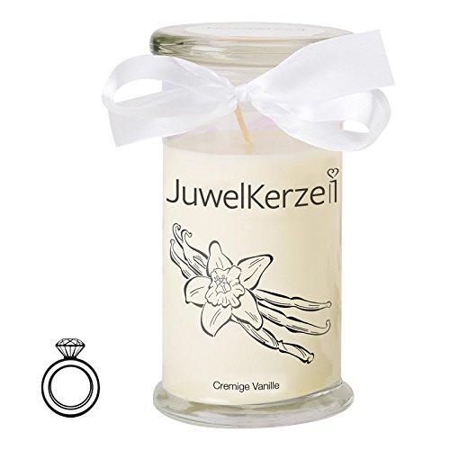 JuwelKerze Cremige Vanille - Kerze im Glas mit Schmuck - Große beige Duftkerze mit Überraschung als Geschenk für Sie (Silber Ring, Brenndauer: 90-120 Stunden)(S)