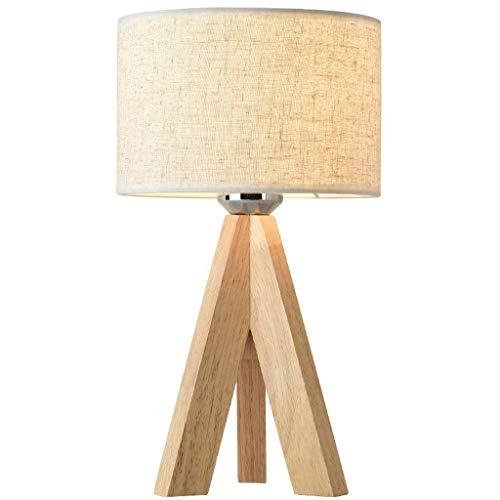 L-YINGZON Nórdica moderna minimalista original de madera enciende acogedor tela de la lámpara lámpara de mesa de la sala dormitorio lámpara de cabecera Estudio Moda luminaria colgante Pantalla (Color: