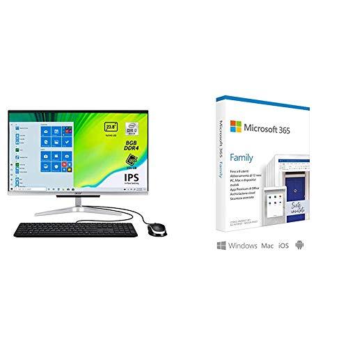 Acer Aspire C24-963 Computer Fisso All in One, PC Desktop con Processore Intel Core i + Microsoft 365 Family | 6 Persone | Box
