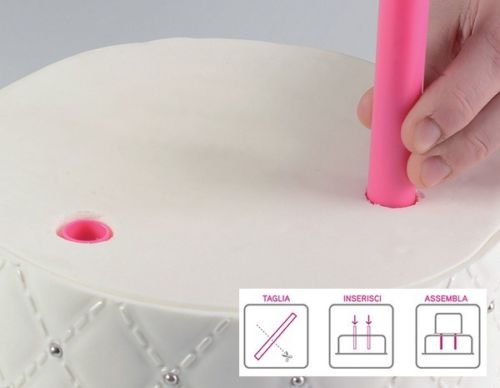 Set de 5 tarugos de plástico para sostener Tartas de Varios Pisos, Color Fucsia