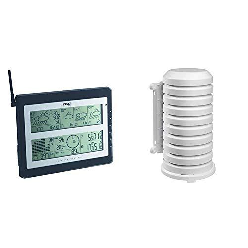 TFA Dostmann Meteotime Duo Funk-Wetterstation, 35.1100 Wind- und Regenmesser, Profi-Wetterprognose, lokale MesSung &...