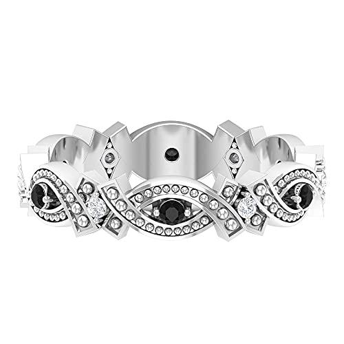 Juego de barra de 1/4 quilates con cuentas de espinela negra y diamante (calidad AAA), oro blanco, diamante, tamaño: UK I1/2