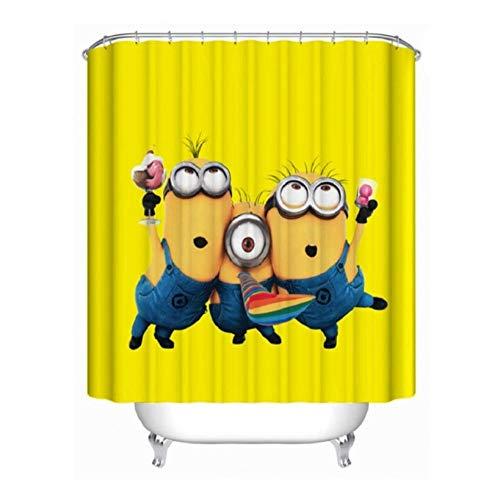 XQWZM Gelbe Duschvorhänge, boshafte Minions Serie Bad Vorhang, Polyester wasserdicht Bad Display für Badewanne Bad Abdeckung Dekor
