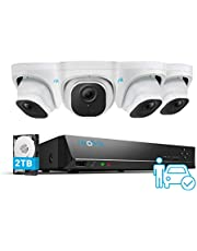 Reolink 8CH 5MP PoE CCTV Beveiligingscamera systeem, 4pcs Super HD Persoon/Voertuig Detectie PoE IP Beveiligingscamera's en 4K NVR met 2TB HDD voor 24/7 Opname van Audio, IP66 waterdicht nachtzicht, RLK8-520D4-A