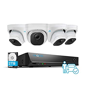 REOLINK 8CH 5MP Security Camera System 4pcs Person/Vehicle Detection Smart 5MP Wired Outdoor PoE IP Cameras 8MP 8CH NVR with 2TB HDD for 24-7 Recording RLK8-520D4-A