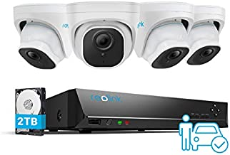 Reolink 5MP Security Camera System, 4pcs 5MP Person/Vehicle Detection Smart Wired Outdoor PoE IP Cameras, 8MP 8-Channel NVR with 2TB HDD for 24/7 Recording, RLK8-520D4-A