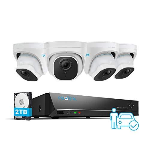 Reolink 8CH 5MP Sistema de Cámara Exterior PoE, 4pcs Detección de Persona/Vehículo Cámaras Vigilancia IP PoE y 4K NVR con 2TB HDD para Grabación 24/7, Vision Nocturna Audio Impermeable, RLK8-520D4-A