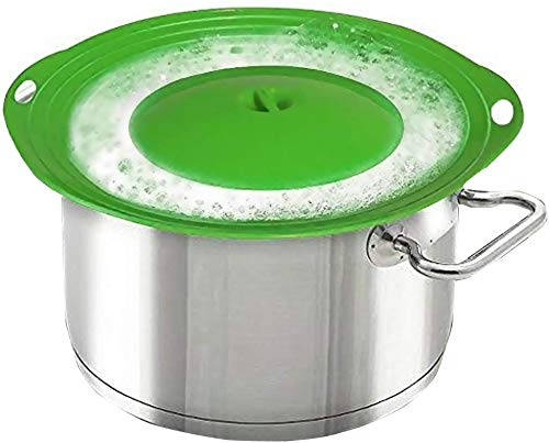 Pot Cover Spill Stopper Lid - Thicken Silicone Boil Over Spill Safeguard,FDA Food Grade Stopper Lid Cover for Pots And Pans, BPA-free Instant Pot Cover, Fits Openings 6' to 10' in Diameter (Green)