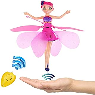Zhangl Flying Fairy Princess Doll Hand Infrared Induction Control Dolls Apple Remote Control LED Light Night Sky Flight Boy Child Girls Birthday Toy for Kids Gift