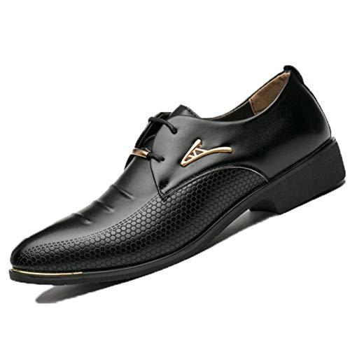 Zapatos Formales para Hombres Punta Puntiaguda Patrón Dividido Zapatos Antideslizantes con Cordones Zapatos de Cuero de Corte bajo Zapatos Derby Transpirables de Moda para el Trabajo Diario