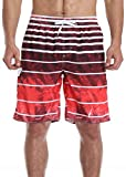 NEOSAN Men's Swim Trunks Beach Board Shorts Dry Quickly Stripe Bathing Suits Red Lava 32