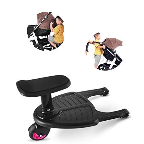 Tandou Buggyboard mit Sitz, Buggy Board am Kinderwagen Anzubringen - Abnehmbar und Zusammenbauen (Pink)