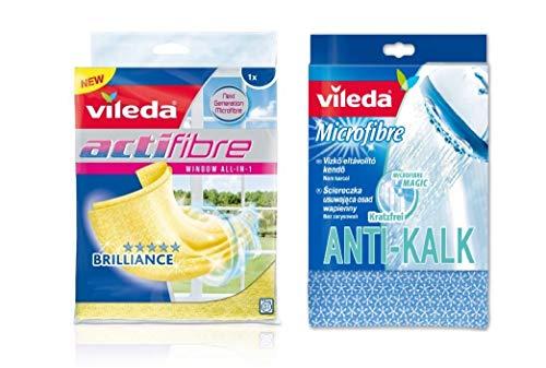 Neu Vileda 141714 Microfibre Anti Limescale cloth - Scratch-free & Limescale Borders in the bath & /Vileda Reinigungstuch für Glas Actifibre, Gelb …