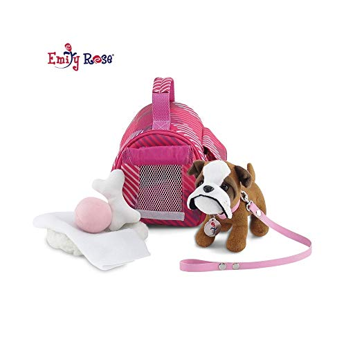 18 Inch Doll Accessories for Valentine's Day | Doll Puppy Set - Pet Carrier and Bulldog Puppy Dog with Leash, Collar and Dog Tag, Includes Plush Pet Bed and Accessories | Fits American Girl Dolls