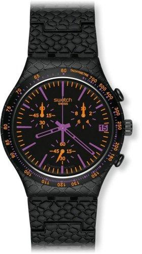 Swatch YCB4015AG - Reloj analógico de caballero de cuarzo con correa de aluminio negra