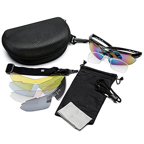 JIAYANLH Gafas de Sol Polarizadas Protección UV400 con 5 Lentes Intercambiables y Monturas,para Running MTB Bicicleta (A)
