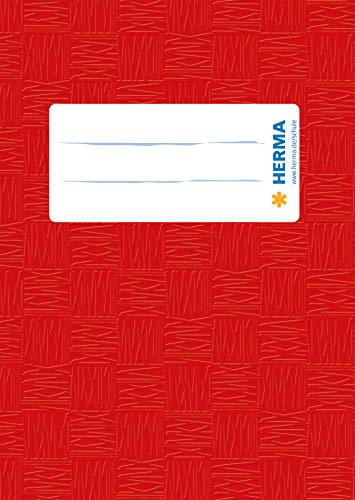 HERMA 7402 Heftumschlag DIN A6 hoch, gedeckt mit Baststruktur und Beschriftungsetikett, aus strapazierfähiger und abwischbarer Polypropylen-Folie, 1 Heftschoner für Schulhefte, rot