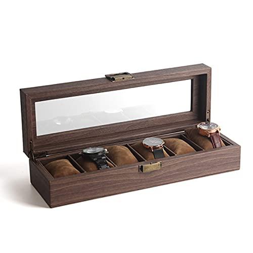 N\C Caja de Reloj de 10 Ranuras, Organizador de Almacenamiento de Vitrina de Reloj, Vitrina de joyería, Organizador de Reloj de Madera con Pantalla de Cristal QZQQ