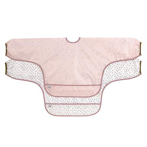LÄSSIG 1311021329 Baby Ärmellätzchen Langarmlätzchen zum Schnüren/Long Sleeve Bib About Friends Chinchilla, rosa, 36 g