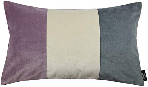 McAlister Textiles - Cuscino imbottito in velluto patchwork, 50 x 30 cm, colore: Lilla, viola, grigio e oro, accessorio decorativo per la casa, per camera da letto, divano, soggiorno, 50 x 30 cm