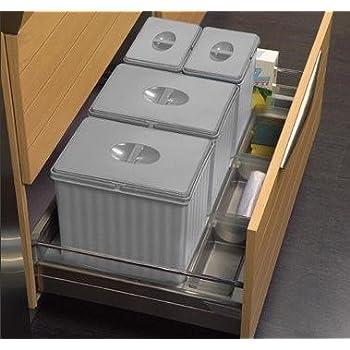 Einbau-Abfalleimer für Küchen-Unterschrank mit Korb 8 cm, 8 Stück, Höhe 8  cm, für Mülltrennung, Modell 86