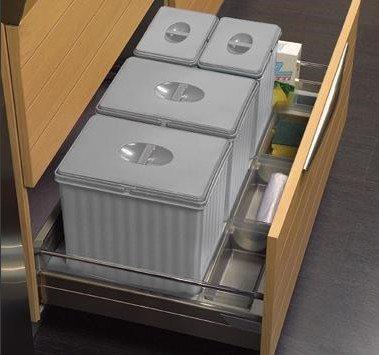 906 Cubo de basura para debajo del fregadero de cocina de 90 cm, 4 compartimentos de 25 cm para reciclaje.