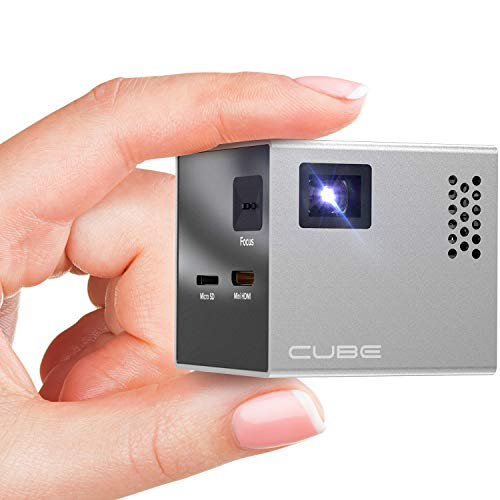 RIF6 CUBE Mobile Pico Projector - Portable Mini 2 inch Video Projector with Built In Speakers HD LED Display for Home Movie Theater - has HDMI Input for Smart Phones Laptops Tablet and Gaming Consoles