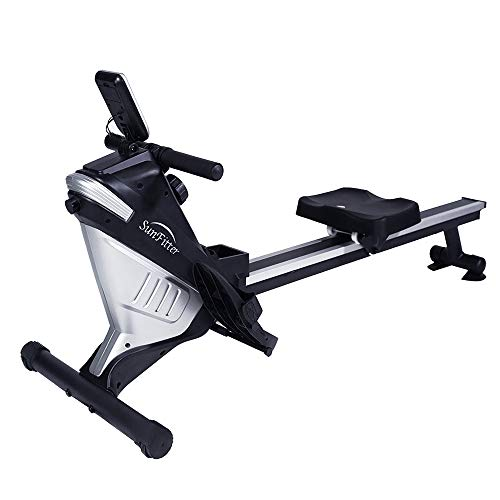Magnetic Rowing Machine Rower 8 Level Resistance Cardio Training Row Machine Fitness for Home Use Workout, 220 LB Max Weight (Grey)