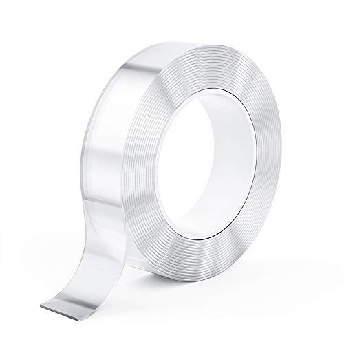 10M 両面テープ 超強力 はがせる両面テープ 魔法テープ 両面粘着ナノテープ 透明テープ 繰り返し 水洗い可能 強力接着用 多機能 DIYテープ 家庭 オフィス 寮 学校 会社 工業用など 幅3cm×長さ10m×厚さ1mm