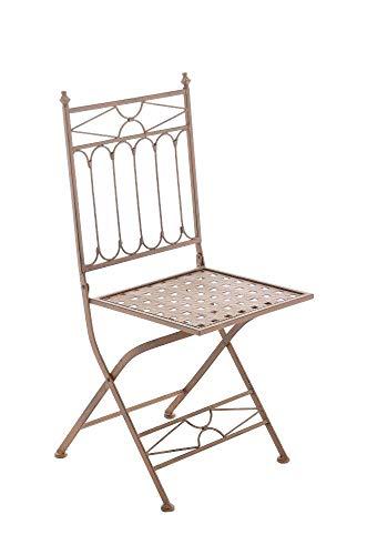Chaise de Jardin Pliable ASINA - Chaise de Balcon en Fer Forgé avec Hauteur d'Assise 48 cm - Meuble de Terrasse et pour Usage Extérieur - Co, Couleurs:Antique Marron