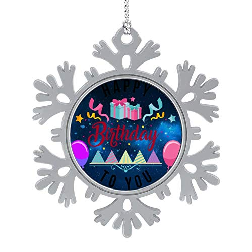 Enylvjoy Happy Birthday to You Christmas Hanging Snowflake Alloy Decorations with Lanyard,Christmas Souvenirs, Personalized Holiday Decorations Present