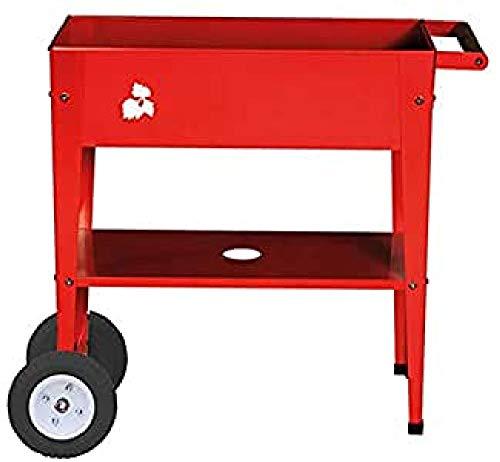 Herstera 08933601 Hochbeet mit Rädern PU, Rot, 35 x 75 x 80 cm