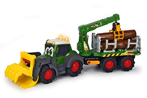 Dickie Toys 203819003 Happy Fendt Forester, Spielzeugbagger mit Anhänger, mechanische Kralle über Griff zu betätigen, Baumstämmen, Licht & Sound, inkl. Batterien, 65 cm lang, grün