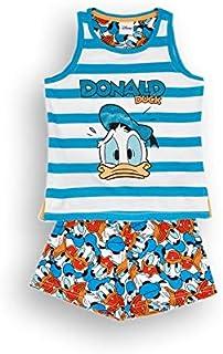 Pijama de 2 piezas con camiseta y pantalón corto para primavera, verano, de algodón, diseño de Donald Duck, ideal para niña/niña en caja