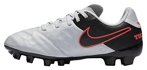 Nike JR Tiempo Legend Vi FG, Botas de fútbol Niños, Plateado/Negro/Naranja (Pure...