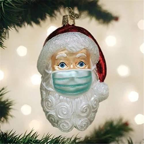Celendi Masked Santa Ornament 2020, Santa with Mask Ornament, Personalized Christmas Tree Decoration Pendant, Xmas Tree Hanging Ornaments Wearing Mask Santa Claus Decorations (3PC)