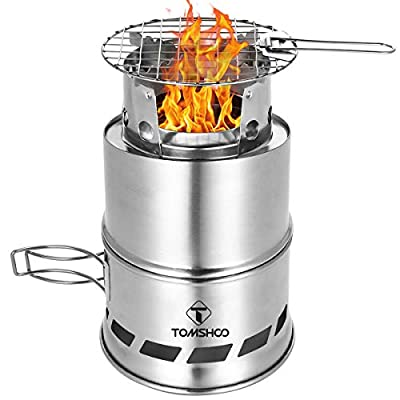 TOMSHOO Upgrade Camping Stove & Backpacking Stove with Wood Ash Plate & Foldable Handle,Portable Folding Windproof Wood Burning Stove Compact Stainless Steel Alcohol Stove Outdoor Camping Picnic