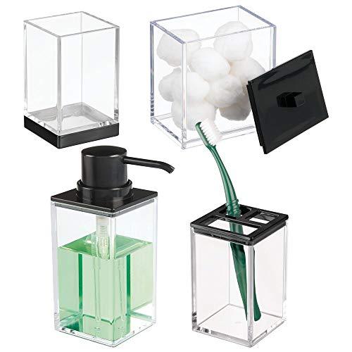 mDesign - Badkameraccessoire in 4-delige set - tandenborstelhouder/zeepdispenser/opbergbox/beker - perfecte tandenborstelorganizer - gemaakt van sterk plastic - doorzichtig/zwart