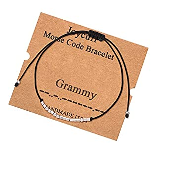 Grammy Morse Code Bracelets for Grandma from Granddaughter Birthday Christmas Gifts for Women Grandmother Jewelry
