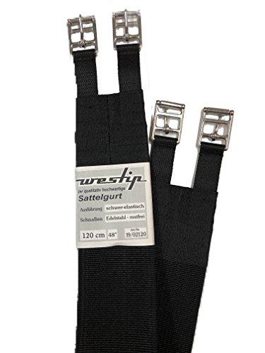 w Westip Sattelgurt lang VS und S, schwarz, schwerelastische Qualität, mehr Atemfreiheit, sicherer Halt (100)